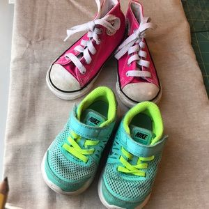 Converse and Nike toddler shoes.  Size 6